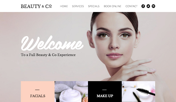 Hair beauty website templates fashion beauty wix for Cosmetology portfolio template