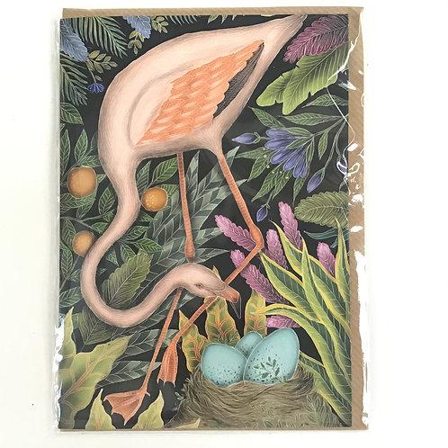 Floral Flamingo Illustrated Designer Card