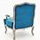 Thumbnail: Natural Linen Teal Velvet Chair
