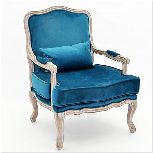 Natural Linen Teal Velvet Chair