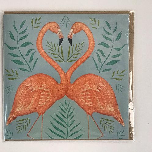 Flamingo Illustrated Designer Card
