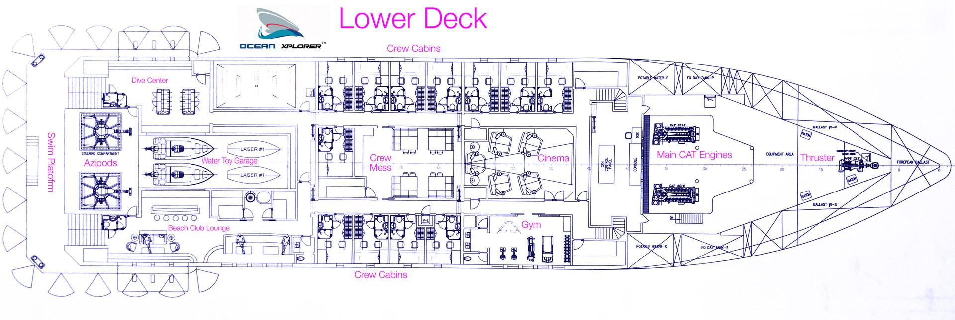 Ocean Xplorer 70 Lower deck