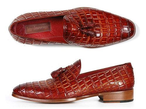 Paul Parkman Men's Reddish Camel Crocodile Embossed Calfskin Tassel Loafer