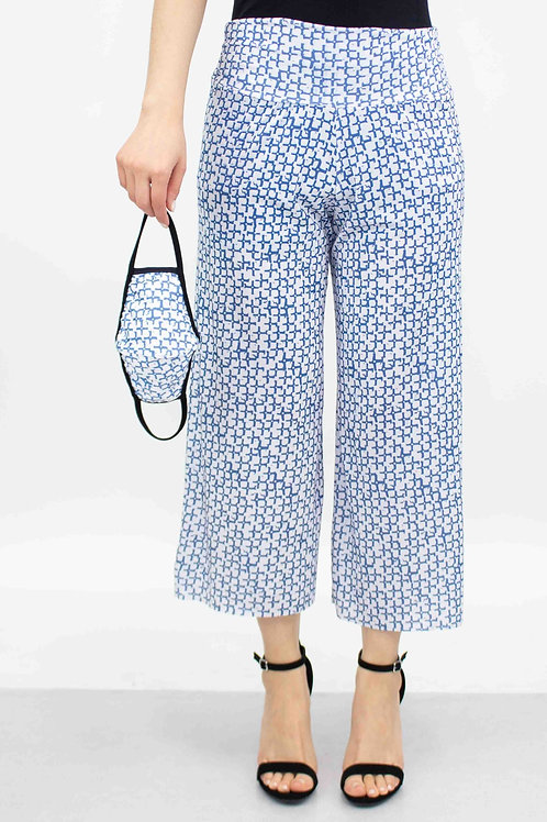 Blue Print Cropped Gaucho Pants and Mask