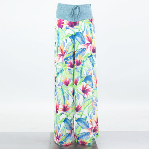 Wide Leg Tropical Maxi Pants