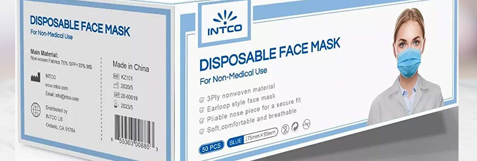 Intco Medical Procedure Face Mask with Earloops, Blue, Box of 50