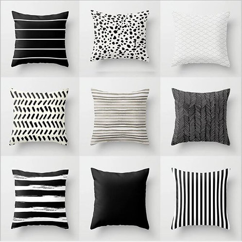 Nordic Stripes Geometric Cushions Cover Double-Sided Black White Grey Polyester