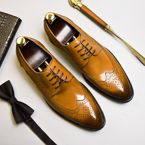 Phenkang Mens Formal Shoes Genuine Leather Oxford Shoes