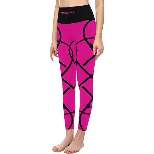 Wakerlook Women's High-Waisted Pink Leggings