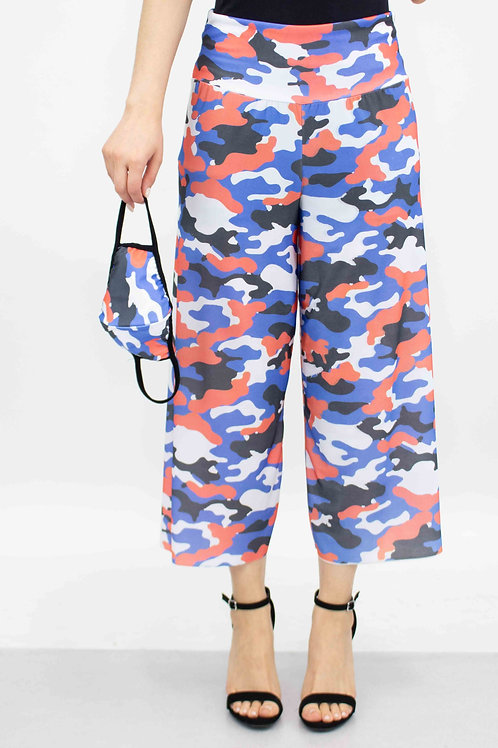 Camouflage Print Cropped Gaucho Pants and Mask - Red