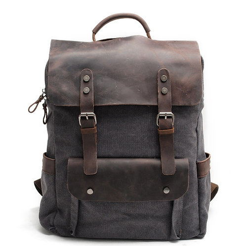 M030 Hot New Multifunction Fashion Men Backpack Vintage Canvas Backpack Leather