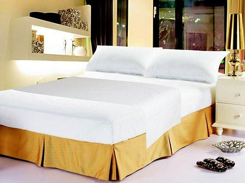 Luxury Solid Soft White Linen Fitted & Flat Bed Sheets Set With Pillow