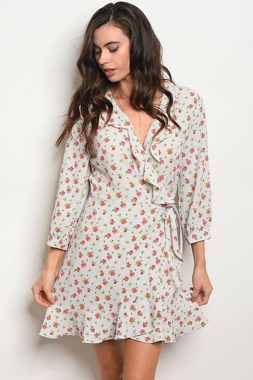 Womens Off White Floral Dress