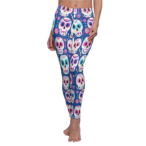 Day of the Dead Casual Leggings - Blue