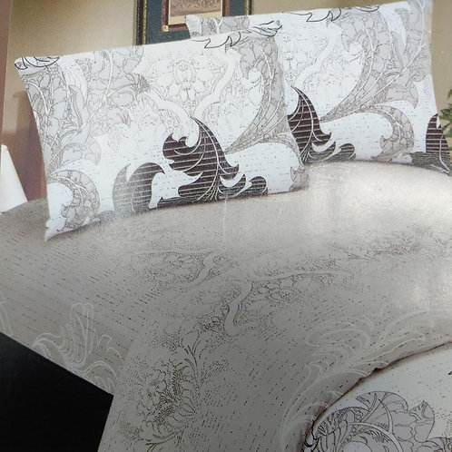 DaDa Bedding Paisley Grey Floral Leaves Fitted Sheet & Pillow