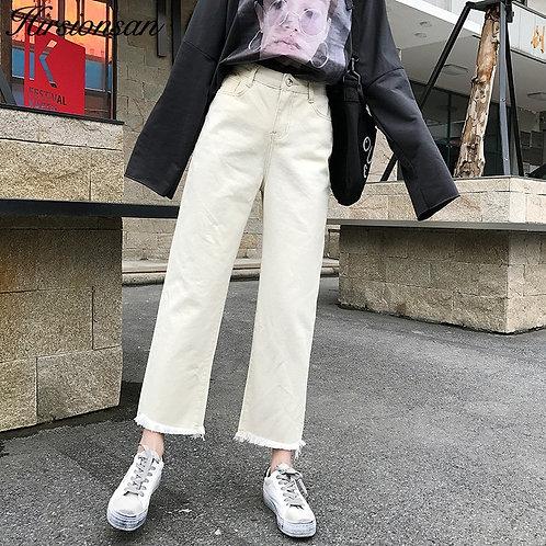 Hirsionsan White Jeans Woman