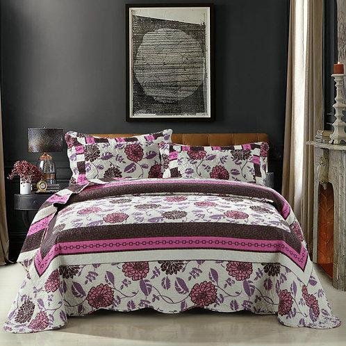 Bohemian Floral Chrysanthemum Vines Hot Pink & Brown Reversible Patchwork Quilt