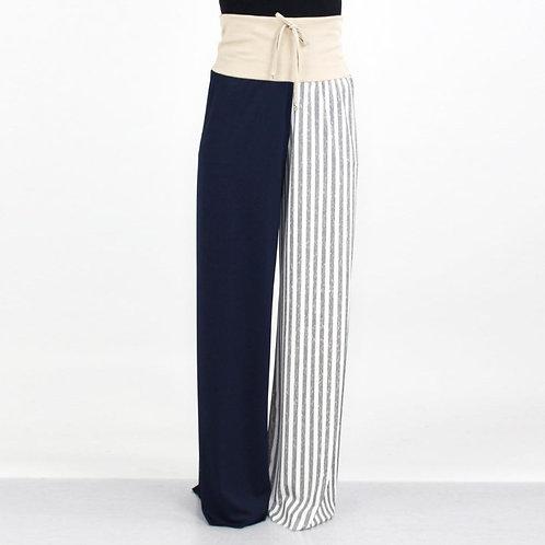 High Waist Color Block Comfortable Maxi Pants