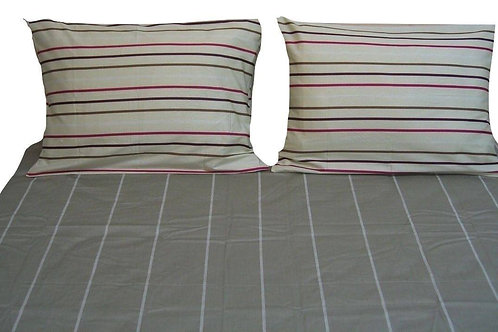 DaDa Bedding Multi White Grey Striped Fitted & Flat Sheets W/ Pillow Cases