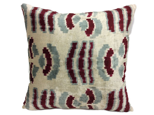 FALU RED- IKAT SILK/VELVET PILLOW