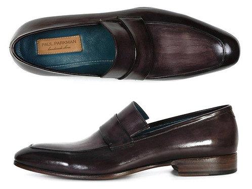 Paul Parkman Men's Loafer Black & Gray Hand-Painted Leather