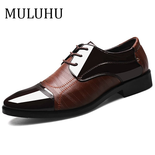 MULUHU Spring Autumn Men Shoes Leather Business Oxford Leather