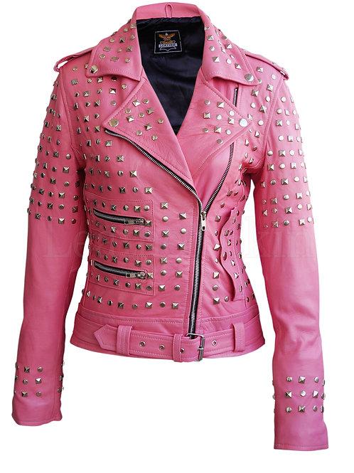 Women Pink Spike Studs Leather Jacket