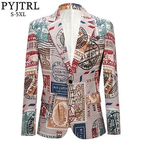 PYJTRL Men's Retro Vintage Plus Size Print Suit Jacket Casual Coat