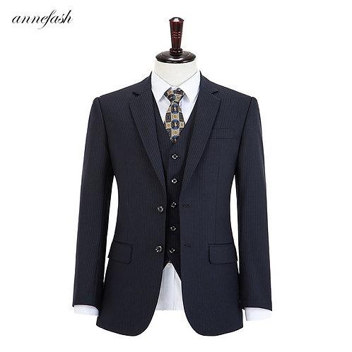 Wool Woolen  Navy Strips  Plaid Tweed Men Suit