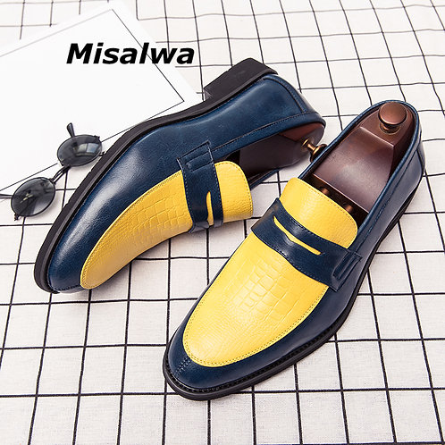 Misalwa Yellow Red White Shiny Loafers Men