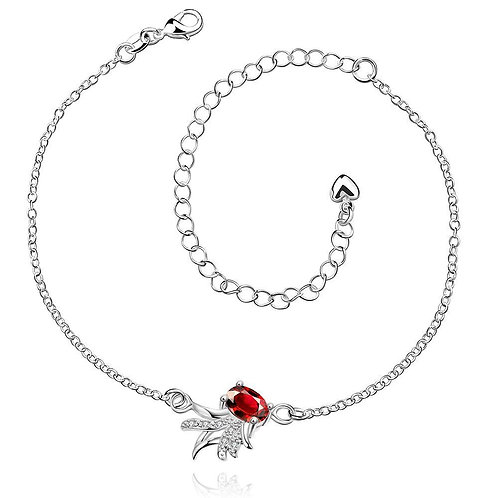 Ruby Pineapple Anklet in 18K White Gold Plated