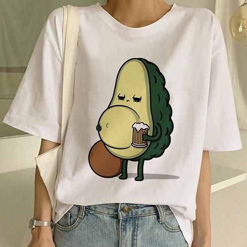 Cartoon Avocado Vegan Short Sleeve Cute T-Shirt