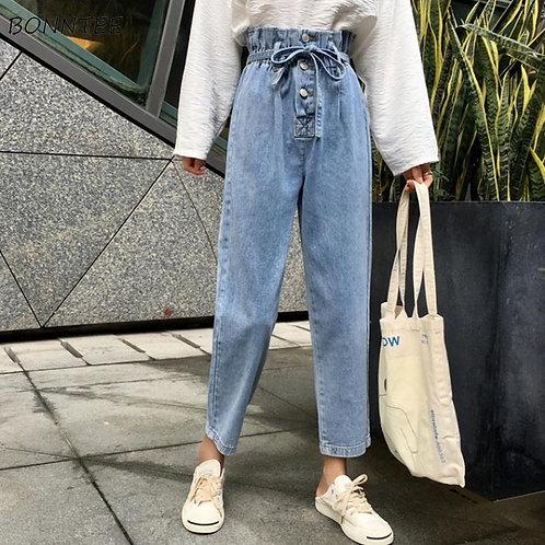 Jeans Women Harem Denim Simple High Pleated Waist Buttons