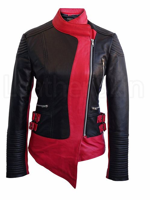Women Brando Black Pink Leather Jacket