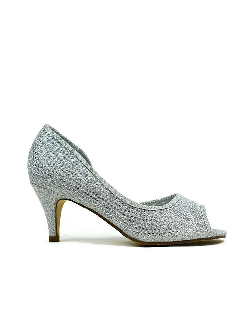 Open Side Kitten Heel  Silver