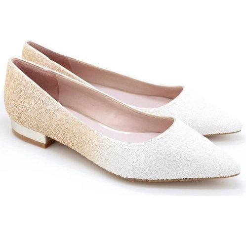 Glitter Pointed Toe Ballet Flats (W/Beige)