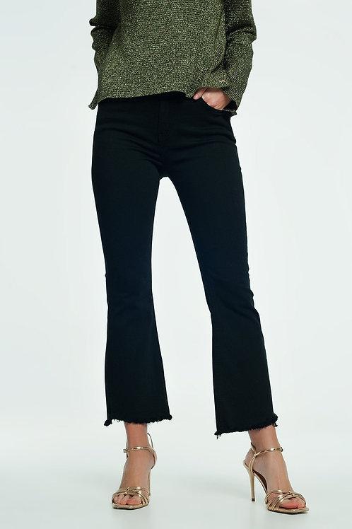 High Rise Raw Hem Flared Jeans in Black