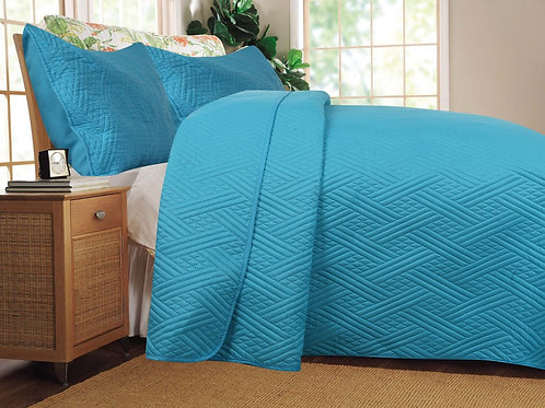 Solid Turquoise Teal Blue Thin & Lightweight Reversible Quilted Coverlet