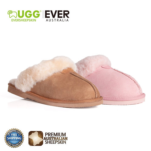 EVER UGG Unisex Scuff/Slippers, Genuine Sheepskin Lining, Suede Upper
