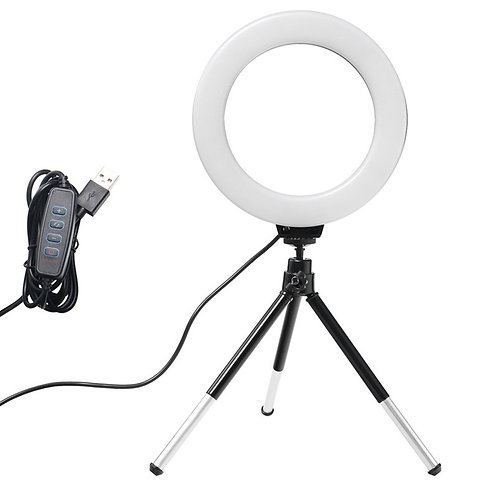 6inch Mini LED Desktop Video Ring Light Selfie Lamp With Tripod Stand USB