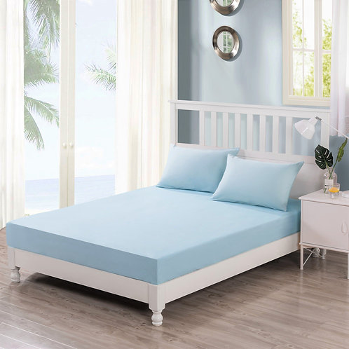 DaDa Bedding Sea-Foam Baby Blue 100% Cotton Fitted Bed Sheet & W/Pillow Cases