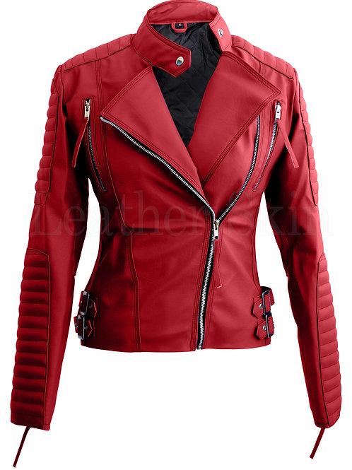 Red Brando Women Faux Leather Jacket