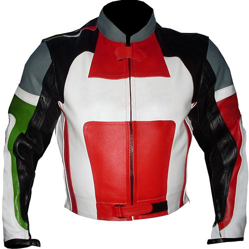 Black Red Biker Racing Leather Jacket