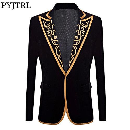 PYJTRL New Mens Fashion Royal Court Prince Black Velvet Gold Embroidery Blazer
