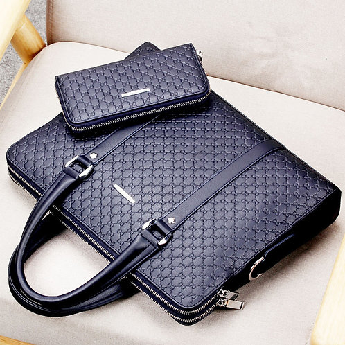 New Fashion Men's Business Briefcase Casual Shoulder Bag Double Layer