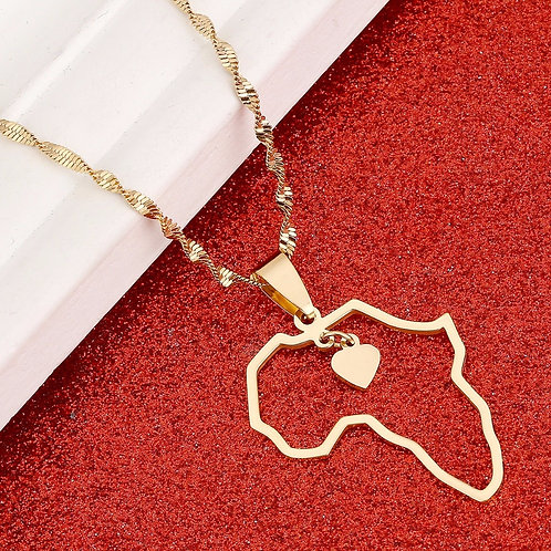 Africa Map Pendant Necklaces Heart African of Maps