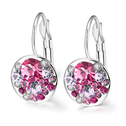 Swarovski Crystal Sapphire Leverback Earring in 18K White Gold Plated