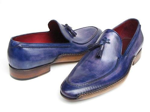 Paul Parkman Men's Side Handsewn Tassel Loafer Blue & Purple (ID#082-BLU-PURP)
