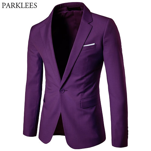 Men's Purple One Button Slim Fit Suit Blazer