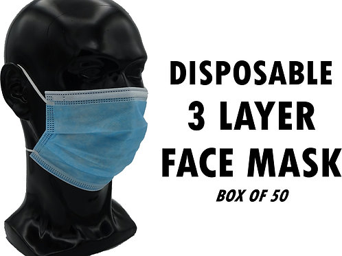 Disposable Face Mask 3 Layer - Box of 50